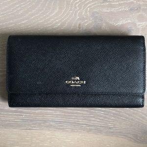 Coach Saffiano Tri Fold Black Wallet